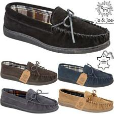 MENS MOCCASINS SLIPPERS LOAFERS REAL SUEDE LEATHER WARM LINED WINTER SHOES SIZE