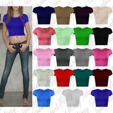Womens Girls Summer Cap Short Sleeve Stretch Crop Top T-Shirt Vest Tee 8-14