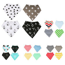 Pack of 4 Snap Buttons Soft Baby Bandana Drool Bibs Saliva Towel Dribble Drool