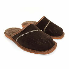 f5883a9236d6 Mens Slippers Shoes Mule 100% Natural Leather Suede Sheeps Wool Hand Made  6-12