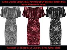 Womens Crushed Velour Party Tiered Off Shoulder Bardot Velvet Dress  Plus Size