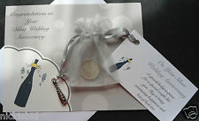 SILVER WEDDING ANNIVERSARY GIFT - LUCKY SIXPENCE, BAG, VERSE TAG, CARD & CHARM