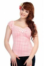 Collectif 50s Style Dolores Pink and White Pastel Gingham Top