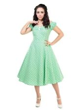 Dolores 50s Style Vintage Wedding Occasion Light Green Polka Dot Doll Dress