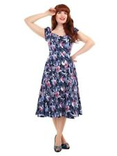 Collectif Dolores 50s Style Maui Tiki Blue Hibiscus Doll Dress