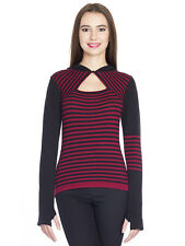 Pussy Deluxe Built In Warmer Stripes Knit Asymetric Hoodie Kapuzenpullover rot/s