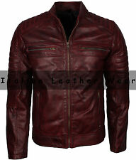 Men Motorcycle Biker Cafe Racer Maroon Vintage Distressed Waxed Leather Jacket
