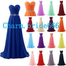 Long Chiffon Bead Formal Prom Party Evening Wedding Bridesmaid Dresses Size 6-18