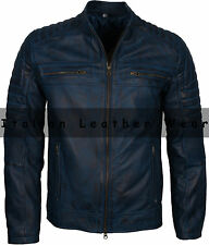 Men Motorcycle Biker Cafe Racer Blue Vintage Distressed Waxed Leather Jacket
