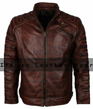 New Men Classic Motorcycle Biker Cafe Racer Brown Vintage Waxed Leather Jacket