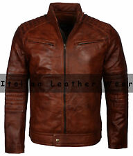 Classic Mens 80s  Motorcycle Biker Cafe Racer Brown Vintage Waxed Leather Jacket