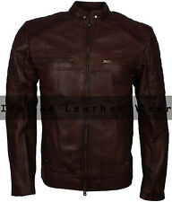 Classic Mens 80s Motorcycle Cafe Racer Choco Brown Vintage Waxed Leather Jacket