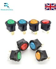 16A 12V LED 20mm Round Rocker ON/OFF SPST Switch 3 Pins Red Yellow Green Blue