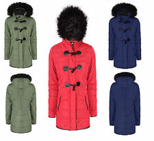 Ladies Women's Winter Fur Hooded Trench Parka Plus Size Coat Jacket Sizes 6-20