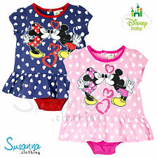 Disney Minnie Mickey Mouse Bebé Niña pelele BODY Falda Top NUEVO 2016