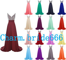 Stock Long Chiffon Evening Formal Prom Party Gown Bead Bridesmaid Dress Sz 6-20+