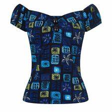 Collectif 50s Style Dolores Blue Abstract Floral Gypsy Top