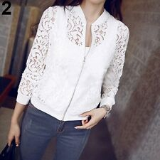 Women's Fashion Hollow Floral Lace Zipper Short Jacket - FREE SHIPPING