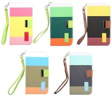 Leather Flip Designer Stripe Wallet Case Cover Pouch for Apple iPhone 4 4S