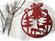 Glitter Christmas Reindeer Tree Decoration Sparkle Xmas Hanging Silver Red Deer