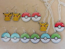 Pokemon Conjunto Pendientes Y Collar Retro Gaming Plata Pikachu Pokeball