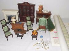 HUGE LOT VTG Dollhouse Furniture Lamps Dishes Piano Fireplace Xmas Wallpaper