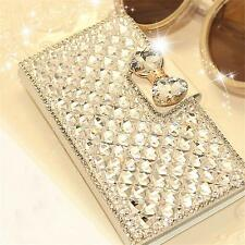 Luxury Bowknot Rhinstone Crystal Wallet Flip Case Cover Stand For iPhone Samsung