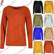 Womens Crew Neckline Long Sleeve Ladies Oversized Knitted Grid Chunky Jumper Top