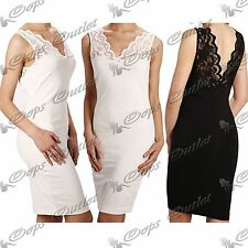 Ladies Womens Sleeveless Lace Mesh Insert Panel Top Long Fit Bodycon Mini Dress