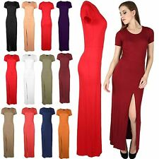 Womens Ladies Short Sleeve Front Split Slit Split Long Top Maxi Dress Plus Size