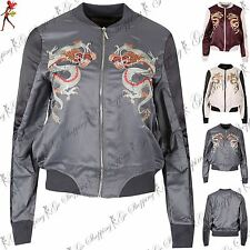 Womens Ladies Dragon Embroidery Full Sleeve Zip Up Contrast Collar Bomber Jacket