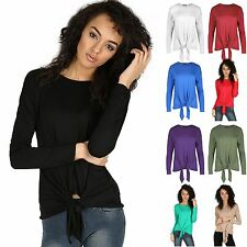 Womens Ladies Plain Front Tie Top Viscose Jersey Long Sleeve Knot Baggy T Shirt