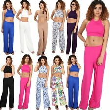 Ladies Crop Top Wide Leg Halter Neck Co Ord Set Womens Palazzo Pants Trousers