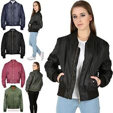 Womens Ladies Girls Vintage Retro Classic Style MA 1 Zip Up Biker Bomber Jacket
