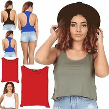 Womens Ladies Casual Racer Muscle Back Sleeveless Cropped Blouse Tank Vest Top