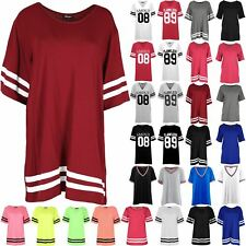 Womens Baggy Baseball Mini Dress Tops Sleeve Stripe Oversized Stretchy T Shirts