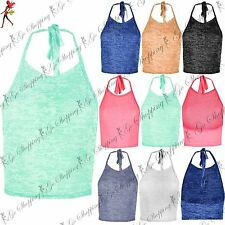 Ladies Burn Out Sleeveless Tie Back Square Neck Halterneck Top Womens Crop Top