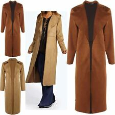 Womens Ladies Soft Collared Open Front Suedette Duster Coat Cape Cardigan