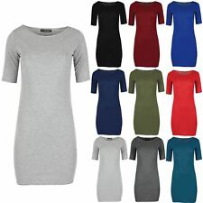 Womens Fashion Plain Fit Stretchy Trendy Ladies Evening Bodycon Top Mini Dress