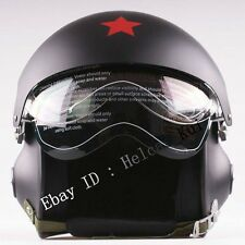 Mode Noir Mat 2Visières Vespa Aviation Casque Demi Jet Pilote Moto Scooter Casco
