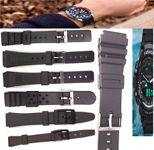 Waterproof Black Rubber Diving Watch Band w/ Steel Buckle Strap Band Belts Band
