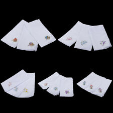 12x Womens Cotton Handkerchief Ladies Embroidery Lace Wedding Party Hanky Hankie