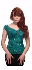 Collectif Dolores 50s American Car Print Teal Green Gypsy Top