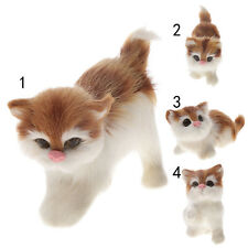 Cute Realistic Playing Cat Real Fur Furry Animal Interior Ornament Kids Toys