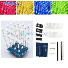Yellow/Red/Blue/Green 4X4X4 Light Cube Arduino uno shield LED Precise DIY Kits