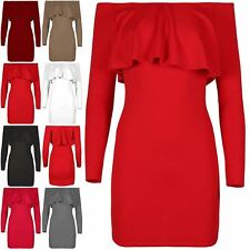 Ladies Womens Bodycon Ruffle Peplum Pencil Frill Fit Party Bandage Mini Dress
