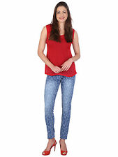 WineGlass Slim fit Printed Denim  Stretch Jeans for Women's 719-ST