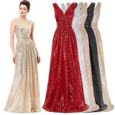 V Neck Sequins Long Evening Formal Party Ball Gown Prom Wedding Bridesmaid Dress