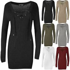 Womens Ladies Plunge V Neck Lace Up Rib Knit Bandage Fitted Bodycon Mini Dress
