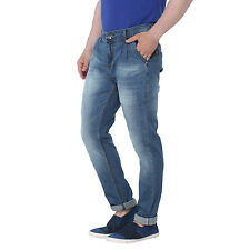 WineGlass Mens Blue Casual Solid Tapered Soft Stretch Jeans for Mens 198st